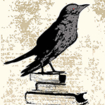 crow on books small copped super short